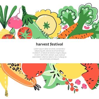 Hand gezeichnetes illustratoin von gemüse und früchten. gesunde mahlzeit, ernährung.