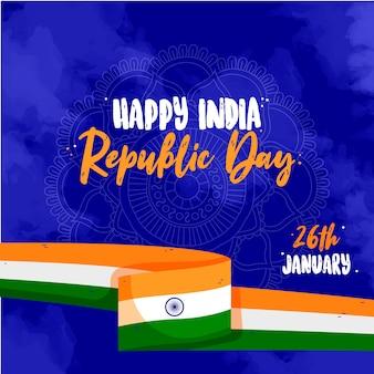 Hand gezeichnetes indisches tag der republik-konzept