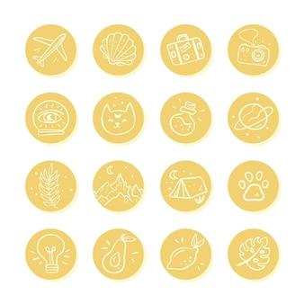 Hand gezeichnetes instagram hebt sammlung hervor Kostenlosen Vektoren