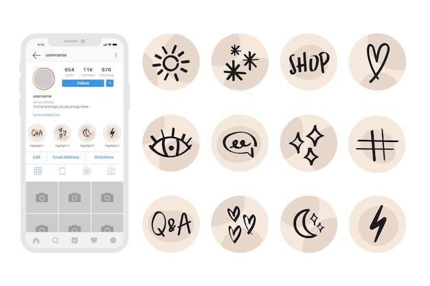 Hand gezeichnetes instagram hebt sammlung hervor