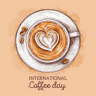 Hand gezeichnetes internationales tag des kaffeekonzepts