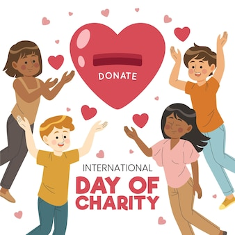 Hand gezeichnetes internationales tag des wohltätigkeitskonzepts