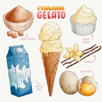 Hand gezeichnetes italienisches gelato-rezept