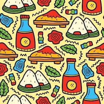 Hand gezeichnetes japanisches nahrungsmittelkarikatur-gekritzelmuster