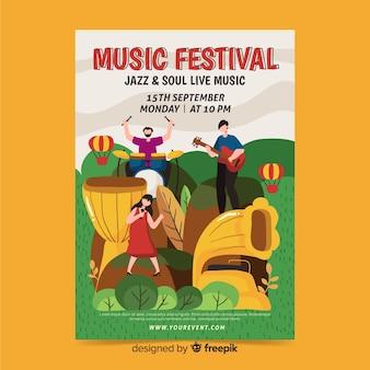 Hand gezeichnetes jazz- und seelenfestivalplakat