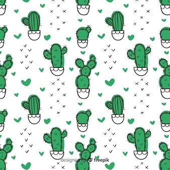 Hand gezeichnetes kaktus- und herzmuster