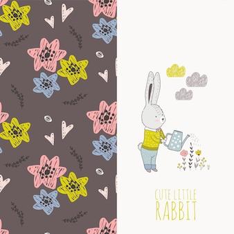 Hand gezeichnetes kaninchen mit blumenkarte und nahtlosem muster.