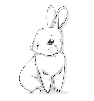 Hand gezeichnetes kaninchen. nettes häschen, kaninchenillustration.