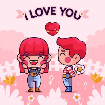 Hand gezeichnetes karikaturpaar verliebt