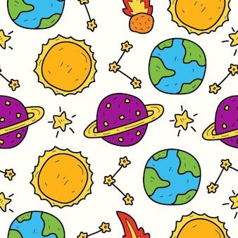 Hand gezeichnetes karikaturplanetengekritzel kawaii muster