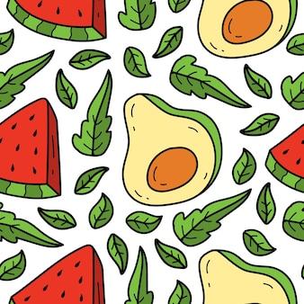 Hand gezeichnetes kawaii gekritzelfruchtkarikaturmusterdesign