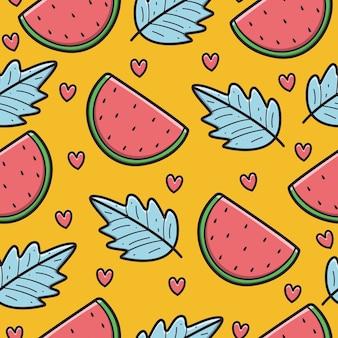 Hand gezeichnetes kawaii gekritzelkarikatur-wassermelonenmuster