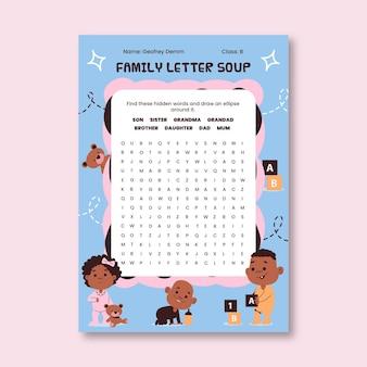 Hand gezeichnetes kindliches buchstabensuppenfamilienarbeitsblatt