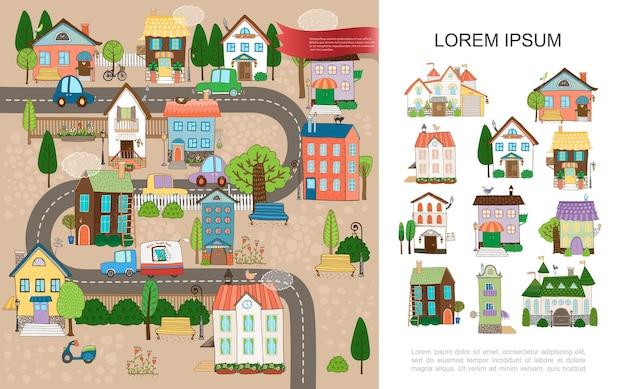 Hand gezeichnetes kleinstadtkonzept mit landhäusern häuschen häuser verschiedener architekturbäume pole zaunbänke roller autos, die auf straßenillustration bewegen,
