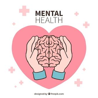 Hand gezeichnetes konzept der psychischen gesundheit