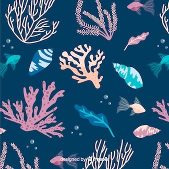 Hand gezeichnetes korallenmuster