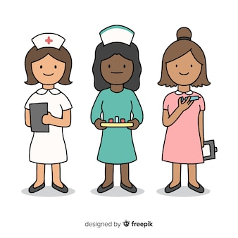 Hand gezeichnetes krankenschwesterteam