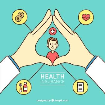 Hand gezeichnetes krankenversicherungskonzept