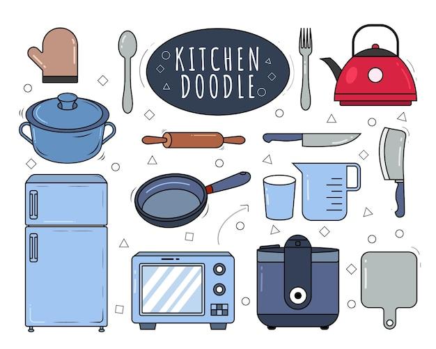 Hand gezeichnetes küchenausrüstungs-cartoon-gekritzel
