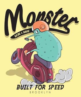 Hand gezeichnetes kühles monstervektordesign für t-shirt druck