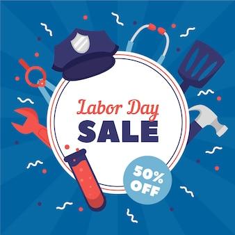Hand gezeichnetes labor day sale banner