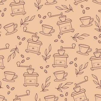 Hand gezeichnetes lineares muster mit kaffeevorräten