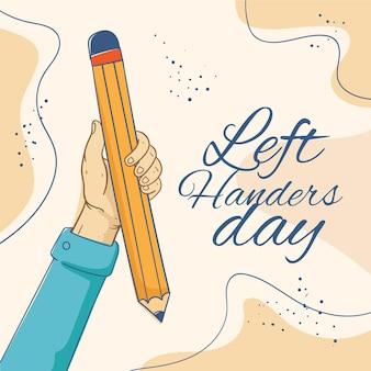 Hand gezeichnetes linkshänder-tageskonzept
