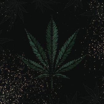 Hand gezeichnetes marihuana-blatt. grünes cannabis auf schwarzem hintergrund mit goldfarbenspray oder funkelt. vektorillustration