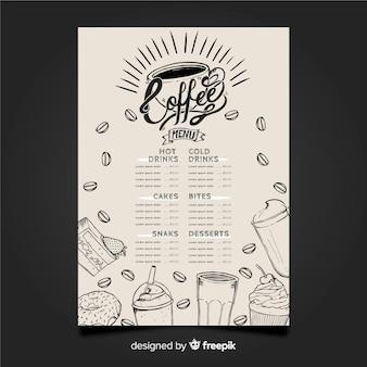 Hand gezeichnetes menü für kaffeestube