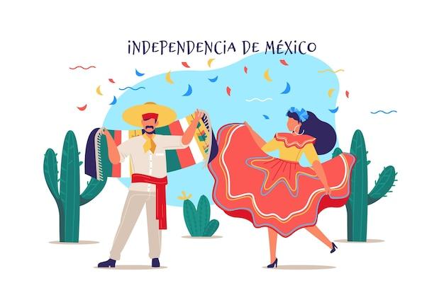 Hand gezeichnetes mexikanisches unabhängigkeitstagkonzept