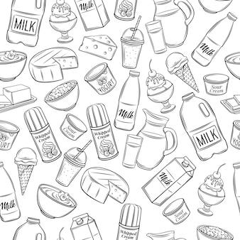 Hand gezeichnetes milchproduktmuster