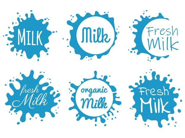 Hand gezeichnetes milk splash abzeichen oder etikett. frischer milch splat.