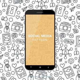 Hand gezeichnetes mobiles Muster der sozialen Medien