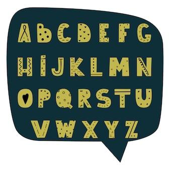 Hand gezeichnetes modernes alphabet im skandinavischen stil.
