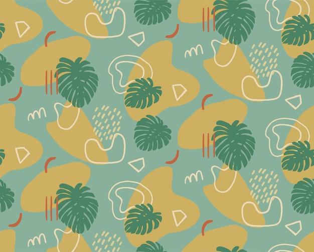 Hand gezeichnetes modernes muster mit modischen abstrakten verschiedenen formen und tropischen blättern, kritzeleienobjekte.