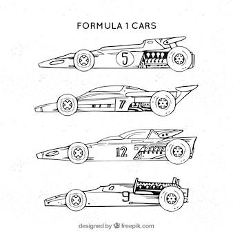 Hand gezeichnetes modernes rennwagen der formel 1