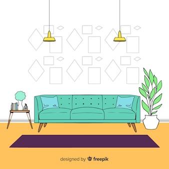Hand gezeichnetes modernes wohnzimmer