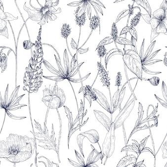 Hand gezeichnetes monochromes blumiges nahtloses muster mit herrlichen weinlesewildblumen, kräutern und krautigen pflanzen auf weißem hintergrund