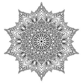 Hand gezeichnetes monochromes orientalisches dekoratives spitzenrundmandala