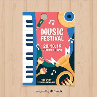 Hand gezeichnetes musikfestivalplakat