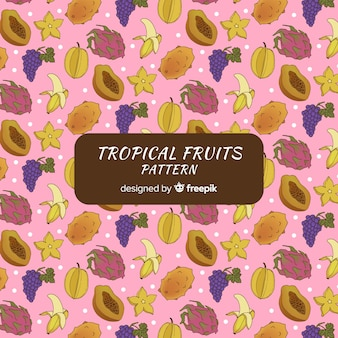 Hand gezeichnetes muster der tropischen frucht