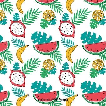 Hand gezeichnetes muster der tropischen früchte