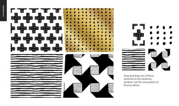 Hand gezeichnetes muster in schwarz, gold und weiß mit geometrischen linien, punkten und formen