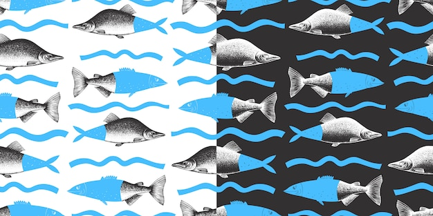 Hand gezeichnetes nahtloses collagenmuster des rosa lachsfisches. kann für menü oder verpackung verwendet werden. meeresfrüchte illustration. moderner hintergrund