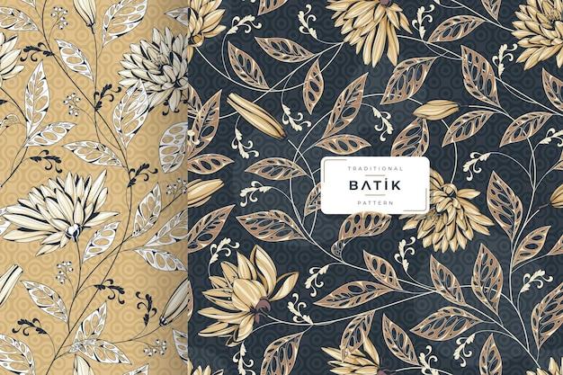 Hand gezeichnetes nahtloses luxus-batikmuster