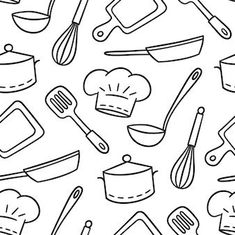 Hand gezeichnetes nahtloses muster auf dem thema der koch- und kochillustration im gekritzelstil auf weißem hintergrund