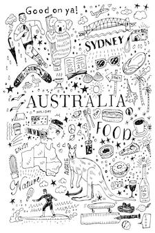 Hand gezeichnetes nahtloses muster australiens