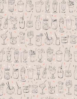 Hand gezeichnetes nahtloses muster der abstrakten tintengrafik mit großer sammlung von cocktails.