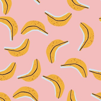 Hand gezeichnetes nahtloses muster der bananen