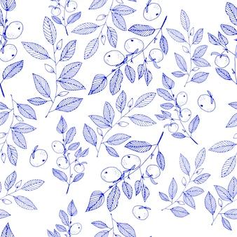 Hand gezeichnetes nahtloses muster der blumenblüte